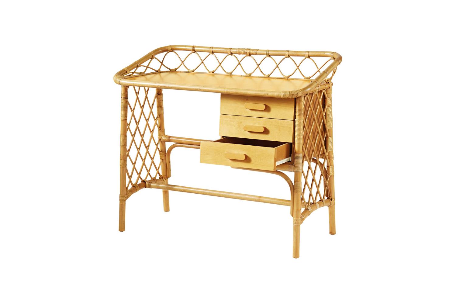 The Bohème Desk Natural from French brand Bonton is made in full rattan and finished with varnish; $463 at Smallable.