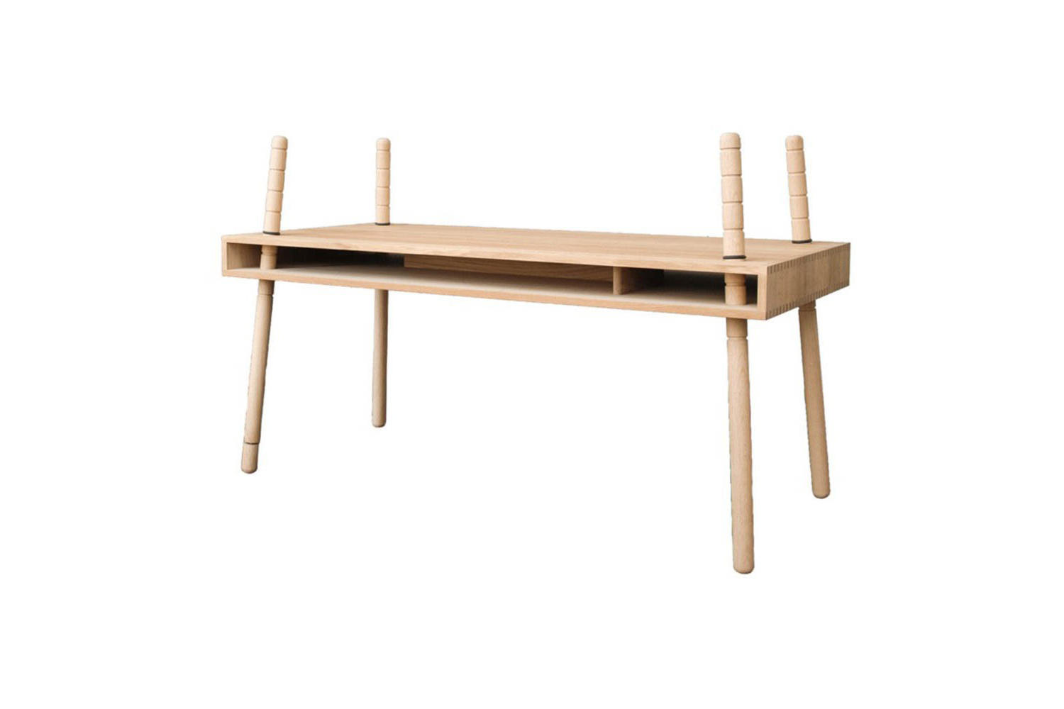 The Caspar Desk in natural from Perludi adapts to the height of the child and breaks down easily for storage; $774 at Smallable.