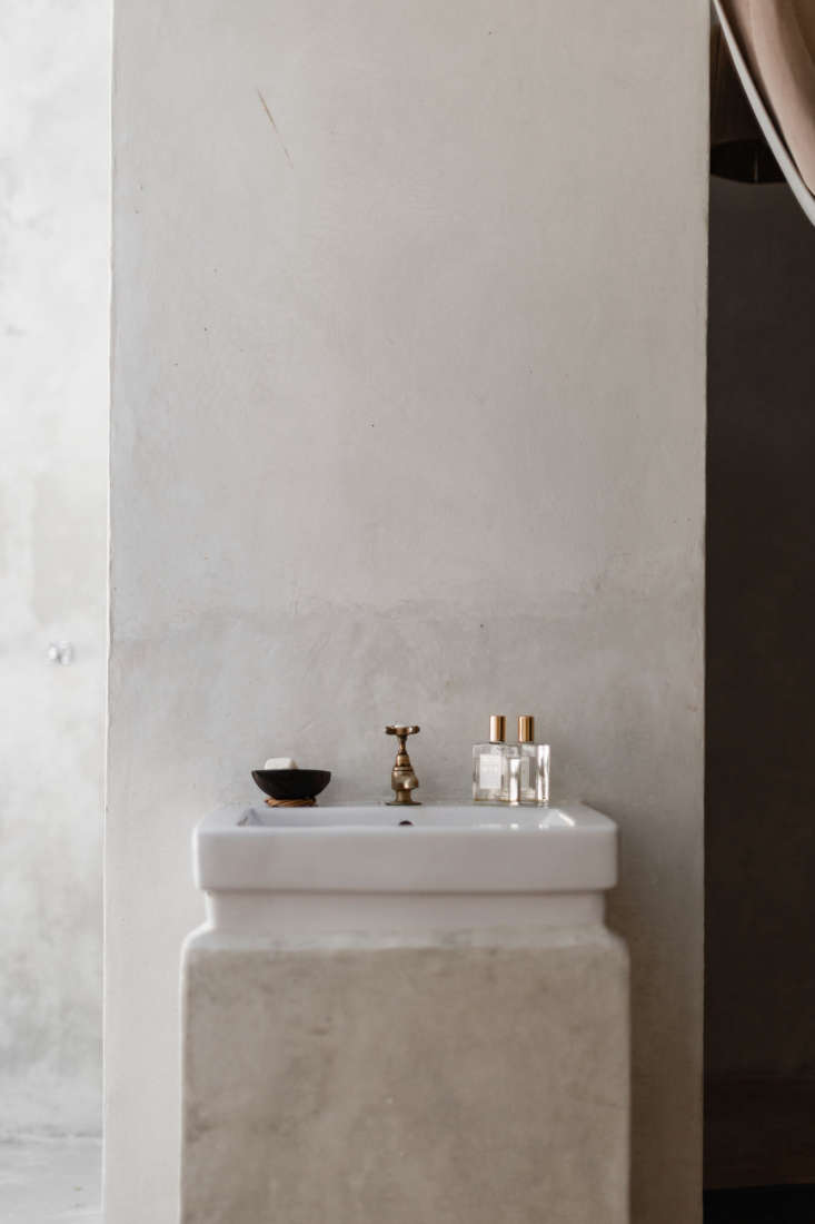 A simple vanity in the spa bath.