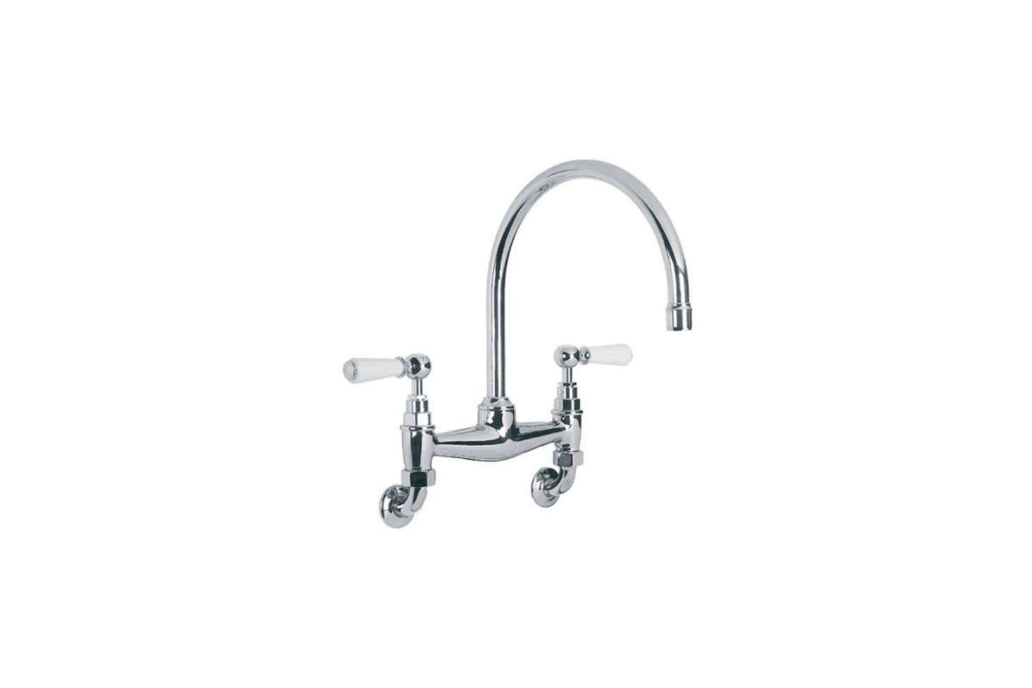 The Lefroy Brooks White Ceramic Lever Kitchen Bridge Mixer is $787.50 at Quality Bath.