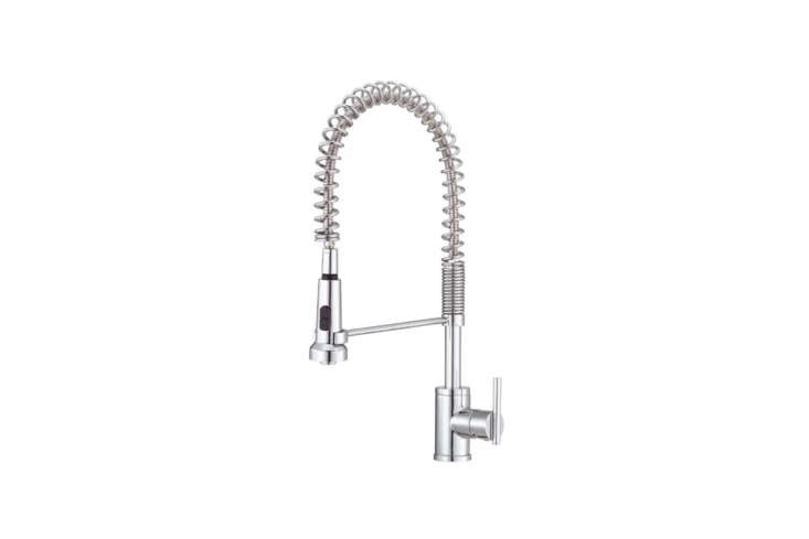 An affordable and practical commercial-style faucet, theDanze Parma Single-Handle Pre-Rinse Faucet has a