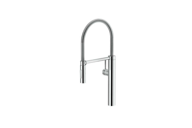 The Franke Pescara Single Hole Pull Out Kitchen Faucet (FFPD4300) in Polished Chrome and Steel is $468. at Quality Bath.