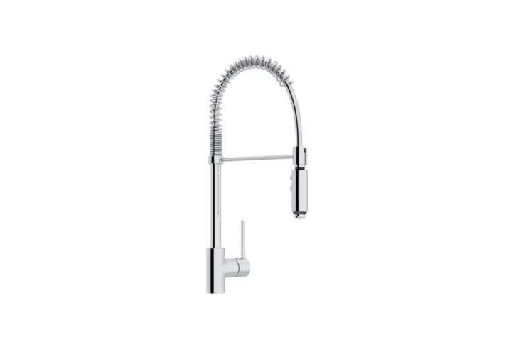 On the higher end of the pricing spectrum, the Rohl Modern Architectural Side Lever Pro Kitchen Faucet (LS64L-APC-
