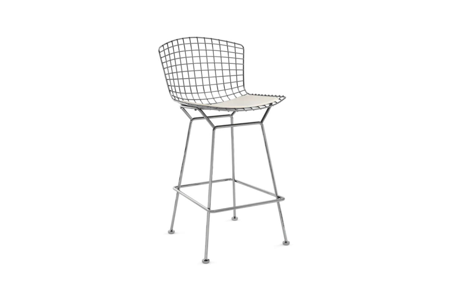 The Bertoia Counter Height Stool in Chrome with a seat pad; $src=
