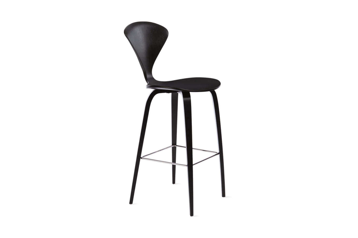 Designed by Norman Cherner, the Cherner Stool comes in Walnut or Classic Ebony (shown); $9 for the counter height size at Design Within Reach.