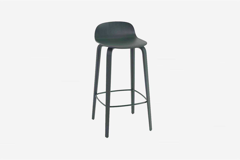 the muuto visu counter stool in dark green designed by mika tolvanen is \$565 a 14