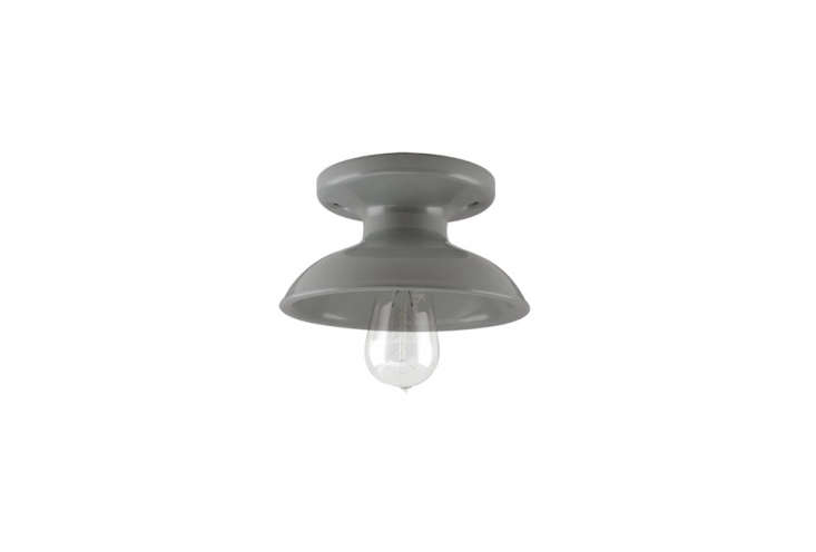 the kao flush mount light, shown in gray, is a classic porcelain style; \$\135  12