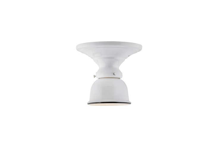 the hannah medium semi flush mount light has a black enamel rim and retro shape 11