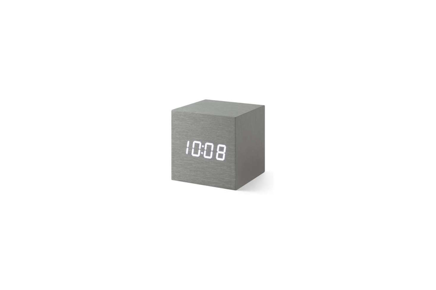 The Alume Cube Clock is encased in wood with an LED screen that illuminates when touched; $48 at the MoMA Design Store.