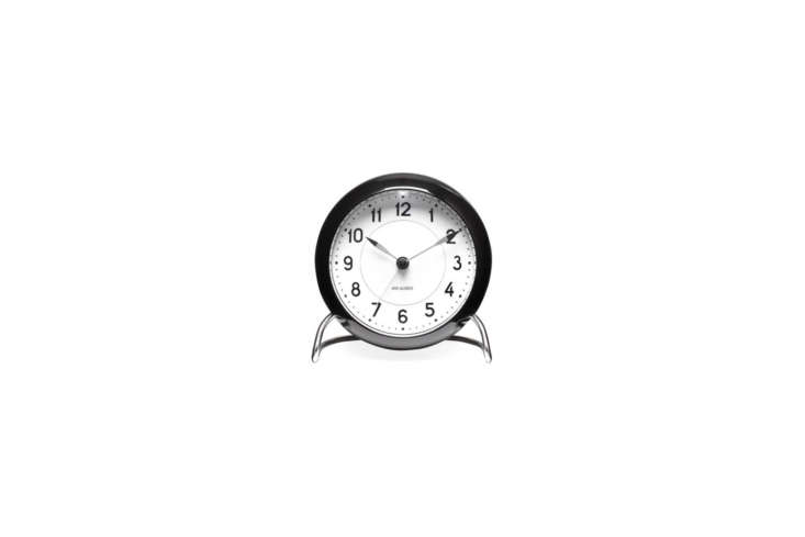 Designed by Arne Jacobsen, the classic Station Alarm Clock in black is $loading=