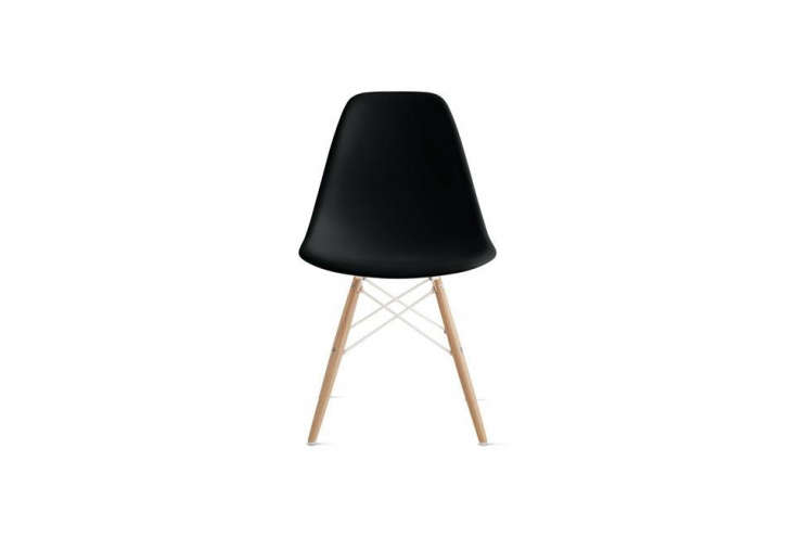 eames molded plastic side chair with wood dowel base is \$439 at design within  11