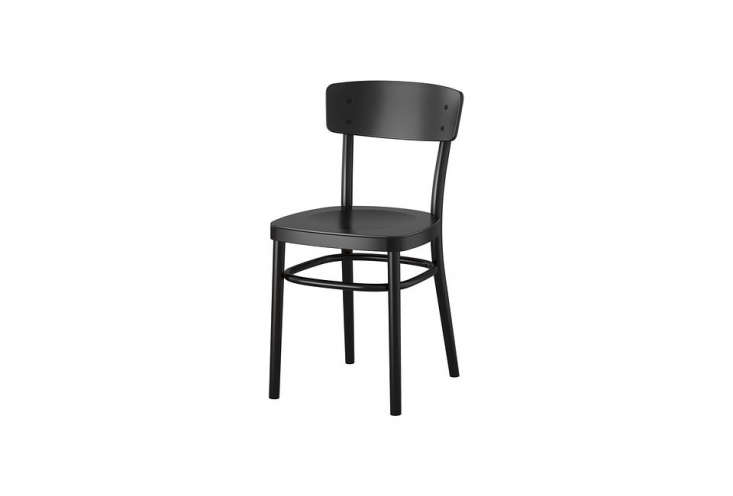 the affordable ikea idolf chair in black is \$59. 18