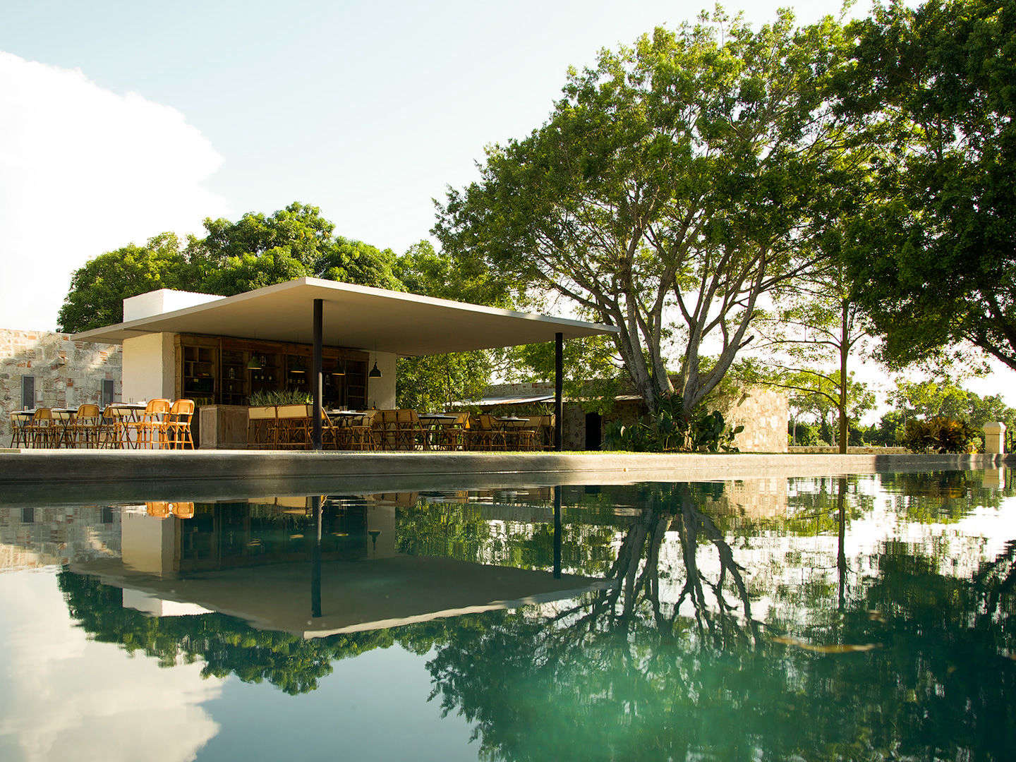 A view of the pool and pool house.