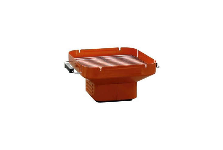 From HEAT, a collapsiblePortable Charcoal Grillwith adjustable grill height, a chrome grill, and handles is available in four colors including orange (shown) ; it's €59.95 ($70 USD) from Fonq.