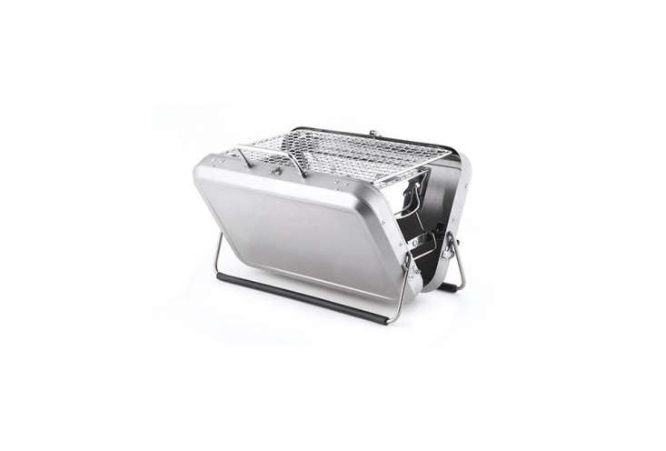 ThePortable BBQ Suitcaseby Kikkerland has a charcoal grill instead of a stainless steel suitcase; $85 at Kikkerland.