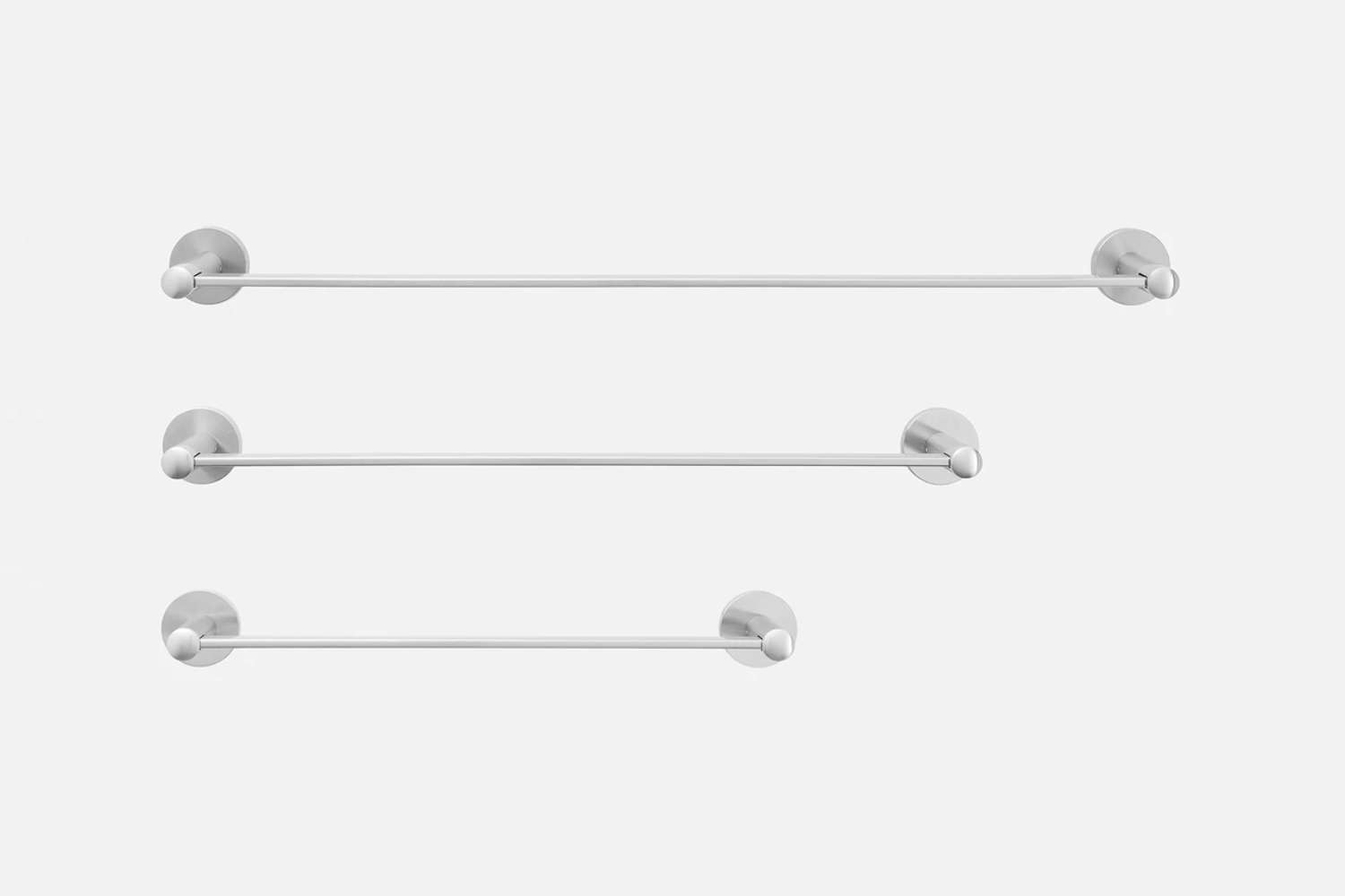 The Maxwell Towel Bar, shown in Satin Nickel, starts at $8 at Schoolhouse.