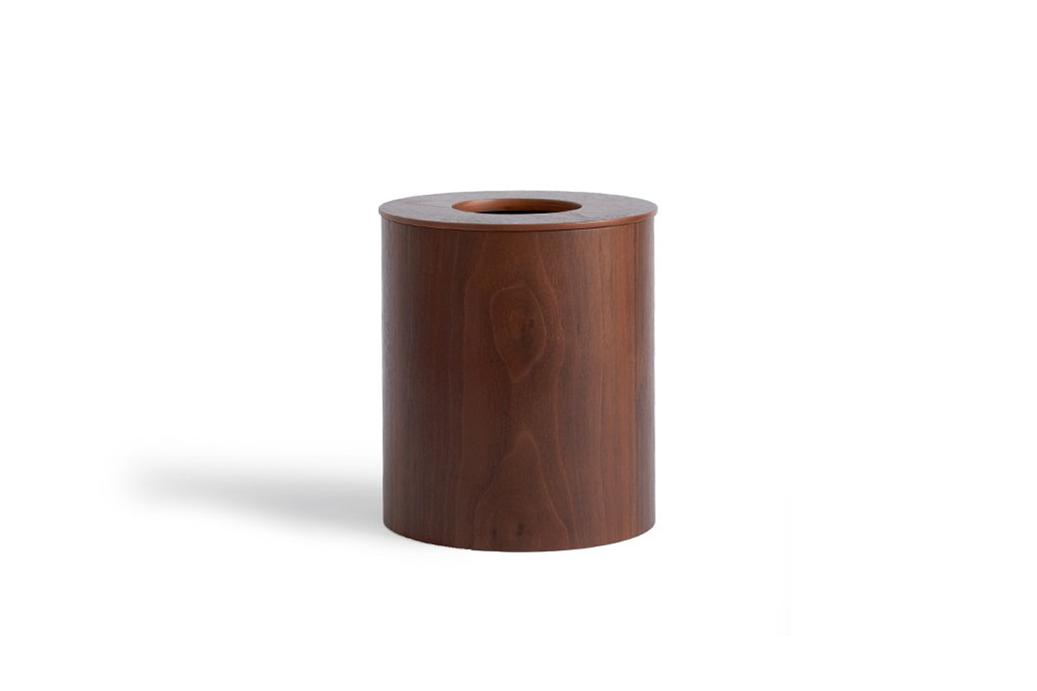The Saito Wood Co. Walnut Paper Waste Basket with Cutout Lid comes in two sizes for $loading=