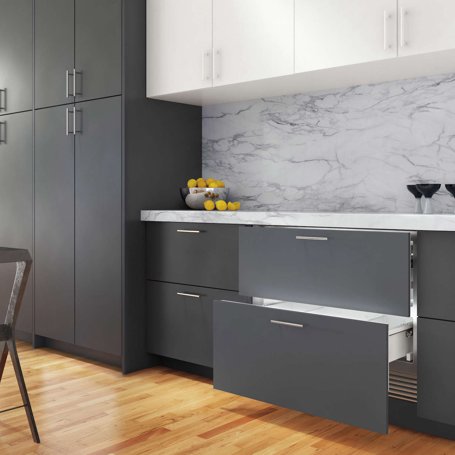 The Subzero 36 Inch Designer Refrigerator Drawers are panel ready as shown here in situ; $4,985 through Subzero dealers.