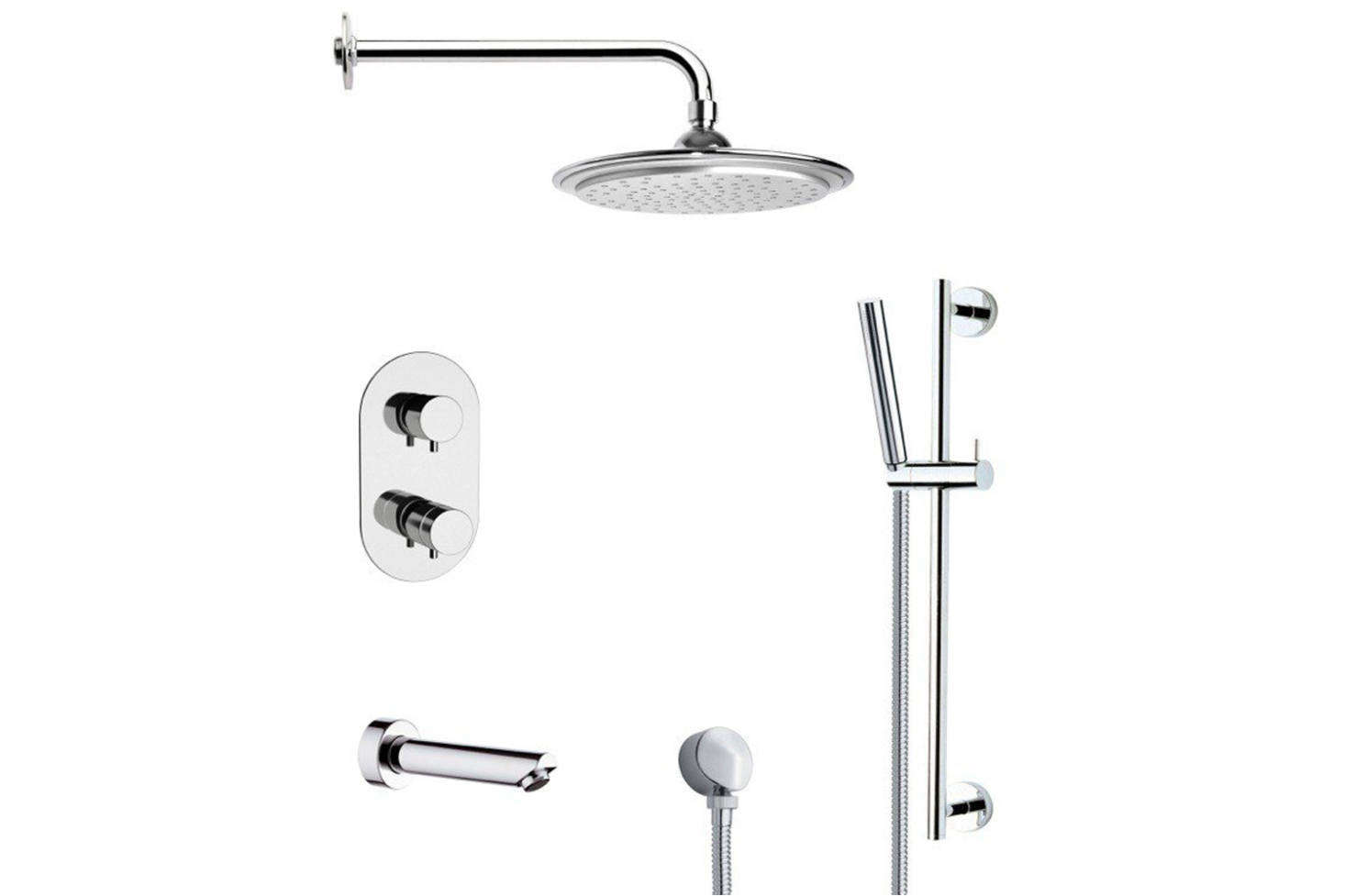 The Remer Galiano Round Thermostatic Chrome Faucet (TSR9407) is $907.4