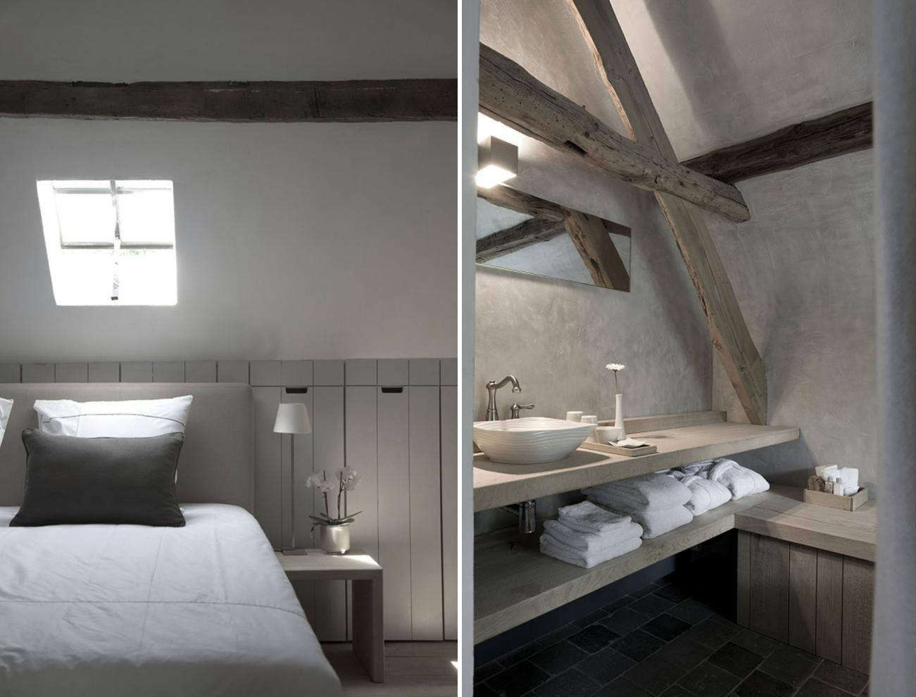 Above, L to R: In an attic bedroom, Cooreman built wood-paneled cabinets into the walls under the rafters. In the bathroom, a modern industrial faucet contrasts with a hand-thrown porcelain basin by ceramist Anja Meeusen.