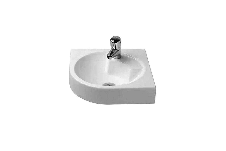 the architec wall mount wash basin corner model is \$3\19.60 at quality bath. 16
