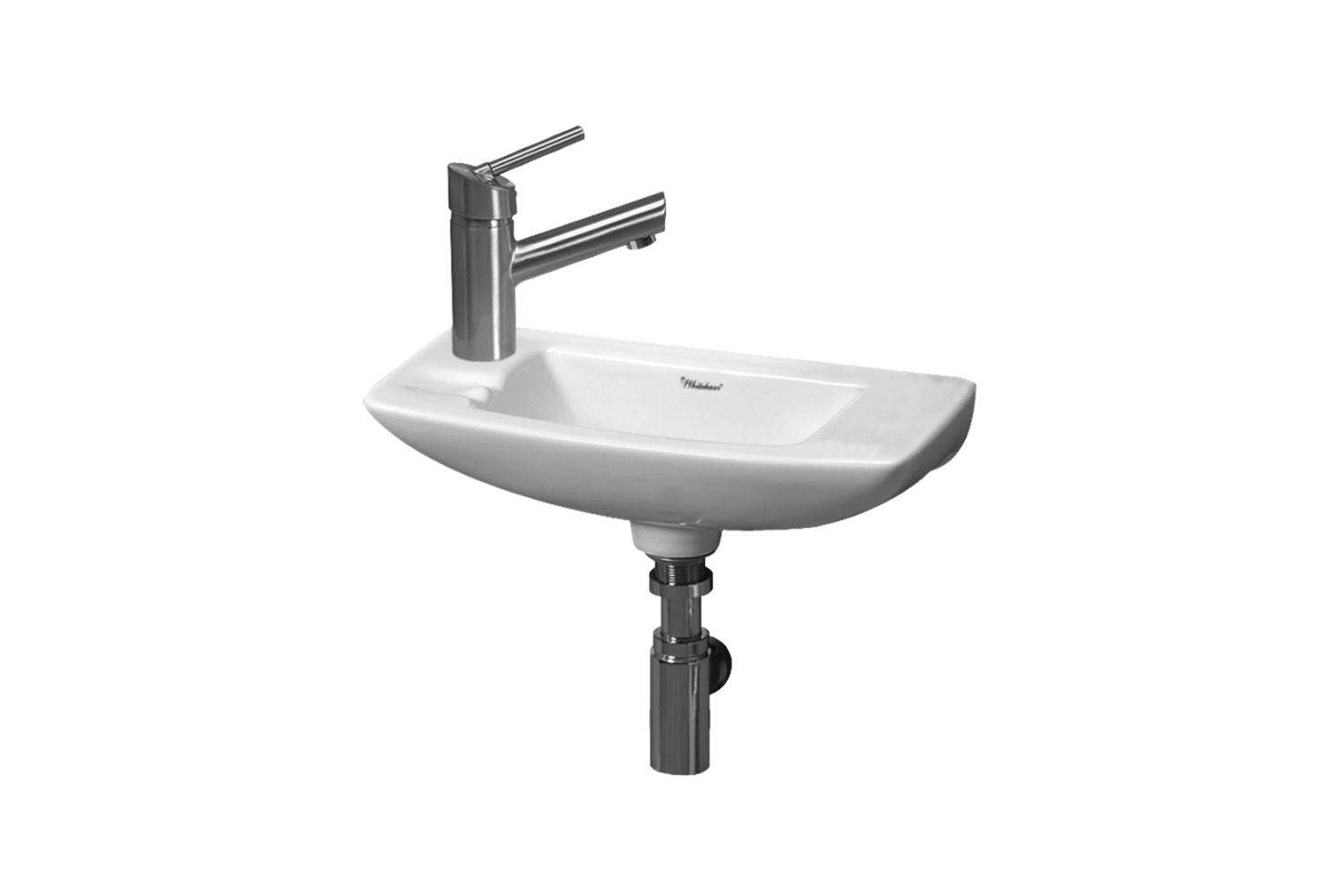 the whitehaus isabella wall mounted bathroom sink measures \17.5 inches for \$\ 20