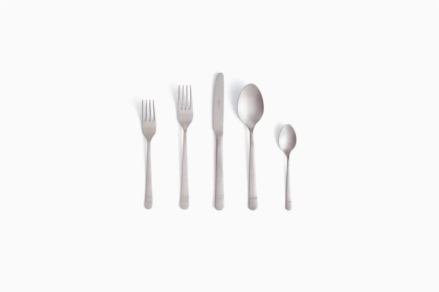 Julie favors the Almoco Silver Stainless Flatware made by a third-generation, family-run business in Portugal; $loading=
