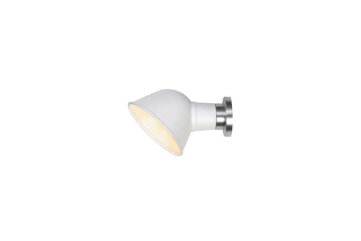 Another one from Original BTC, the compact Ginger Wall Sconce comes in White (shown), Cream, Chrome, or Black for $359 at Lightology.