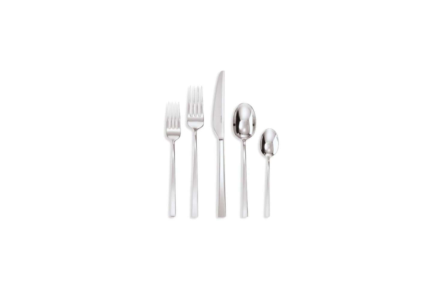 Italian-made Sambonet Linea Q stainless steel flatware is $85 for a five-piece set at Saks Fifth Avenue.