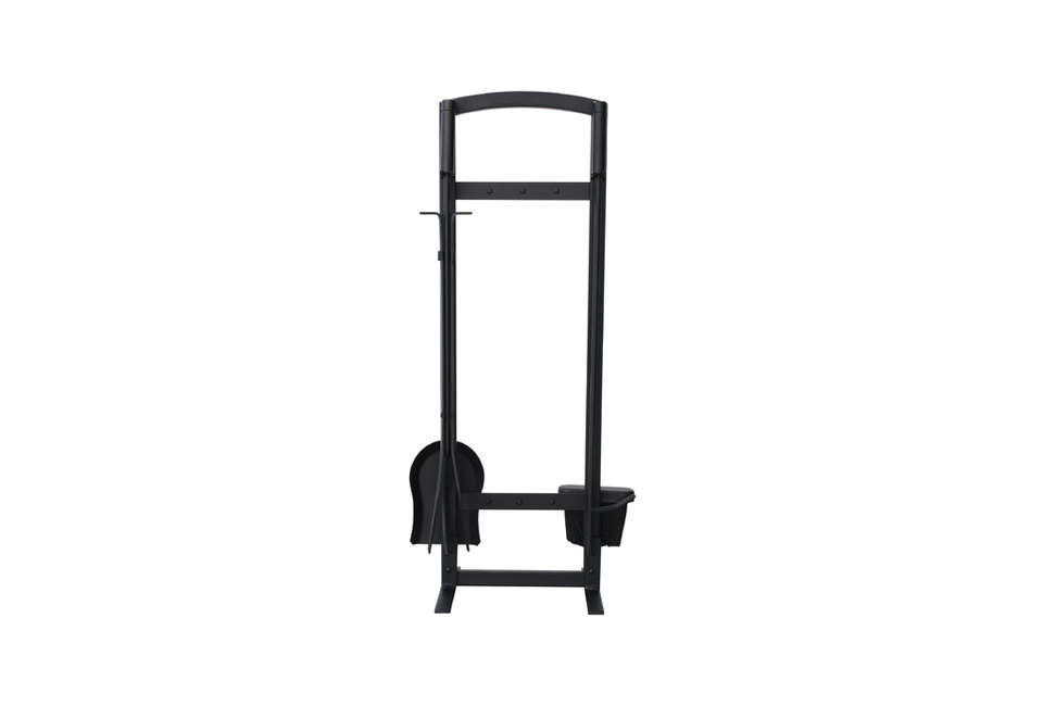 the 5 piece fireplace tool set is made of wrought iron; \$77.99 at all modern. 14