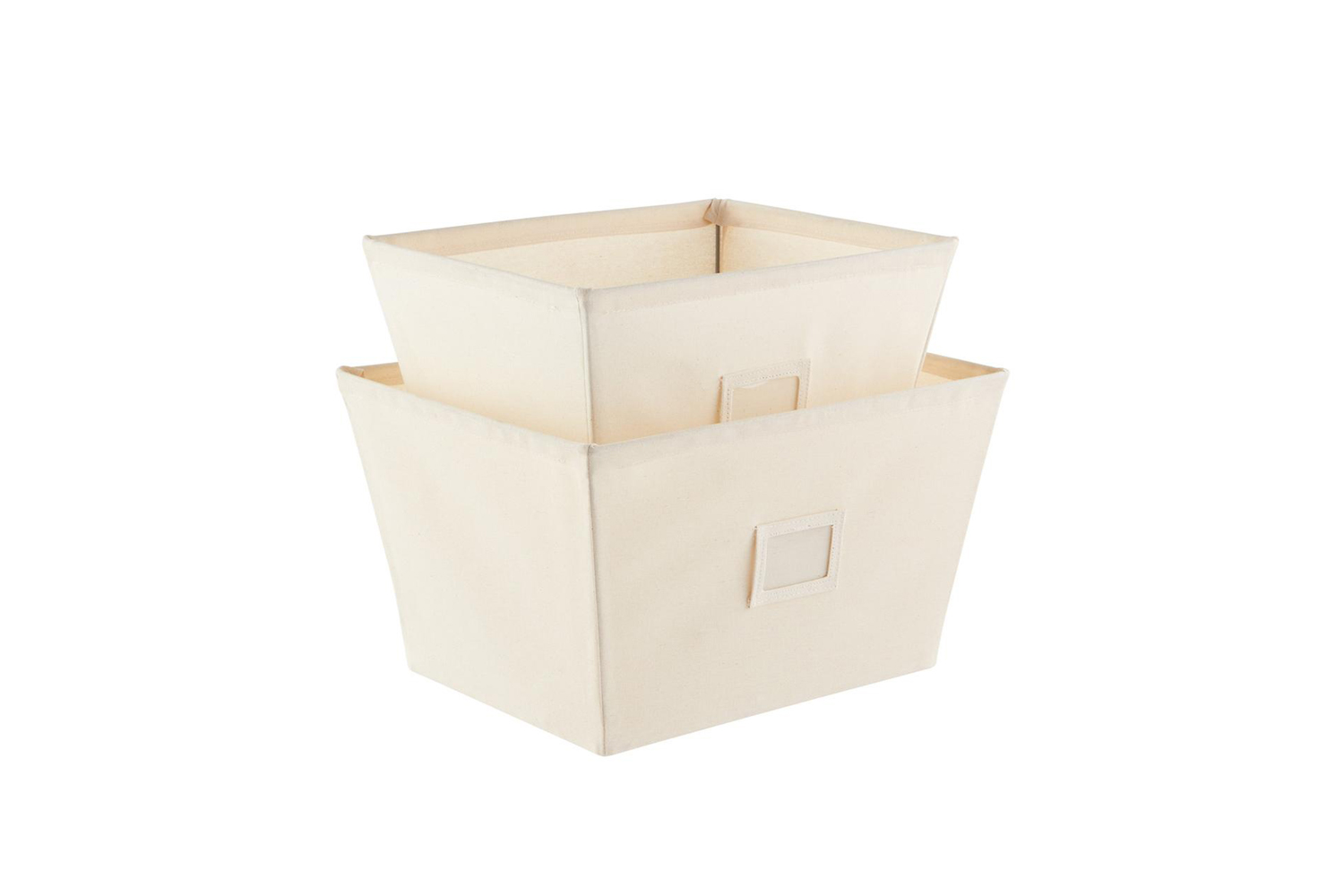 the container store&#8\2\17;s open canvas storage bins with labels are \$9. 14