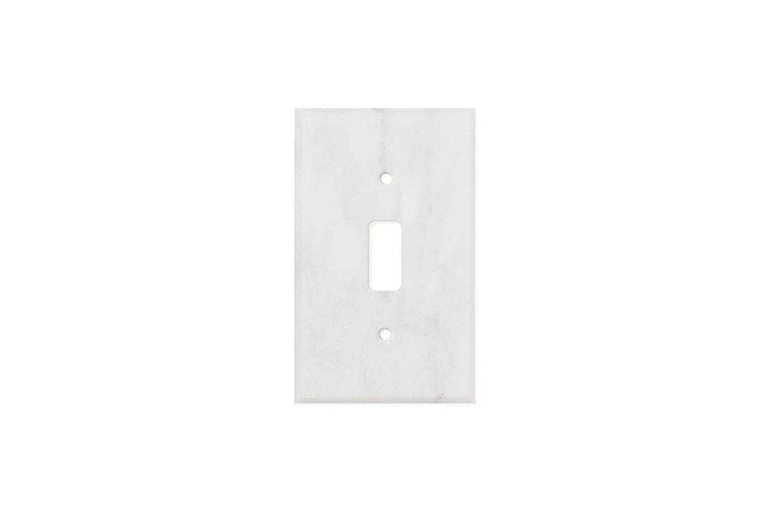 The Carrara White Marble Single Toggle Switch Plate is available as polished or honed marble for $.99 each at Tilezz.com.