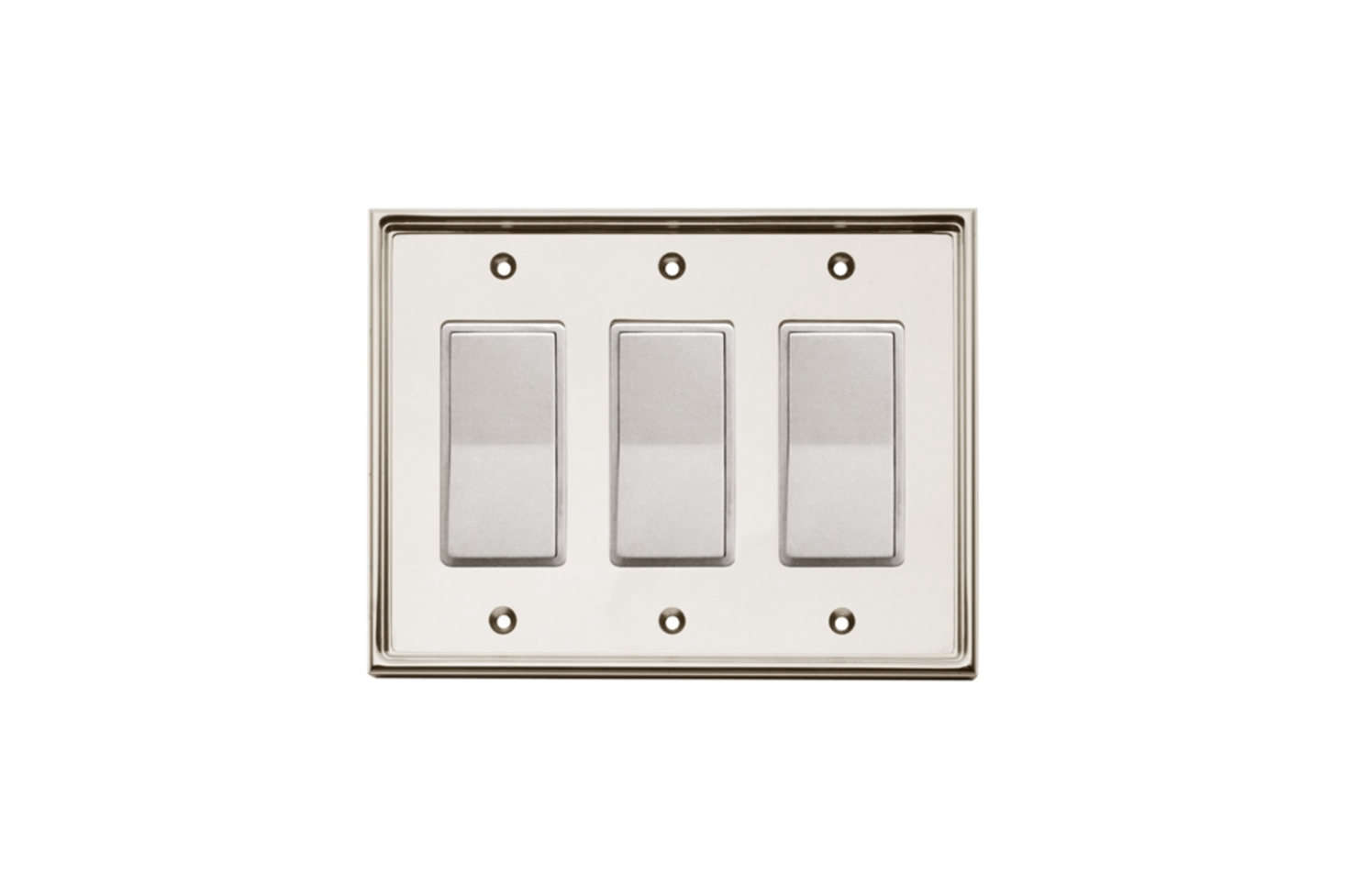 The Nanz No. 98LT3 Wall Plates featuring stepped molding around the edge is available in all Nanz finishes; contact for price and ordering information.