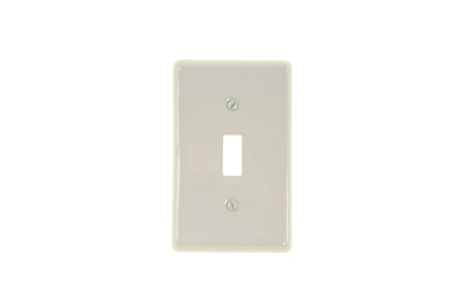 The Amerelle Nouveau Ceramic Toggle Wall Plate in White is $4.84 at Home Depot.