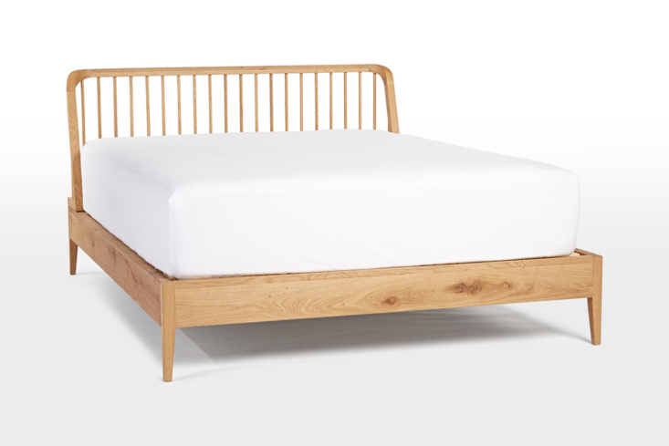 From Rejuvenation, the Perkins Spindle Bed comes in white oak (shown) or walnut for $