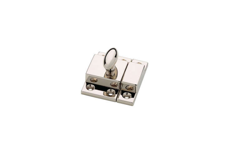 The Martha Stewart Living Matchbox Door Latch comes in Polished Nickel (shown), Bedford Nickel, and Bedford Brass; $6.97 each at Home Depot.