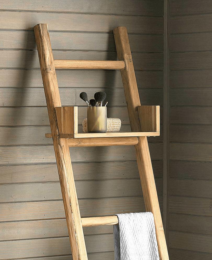 teak ladder with shelf from viva terra 9