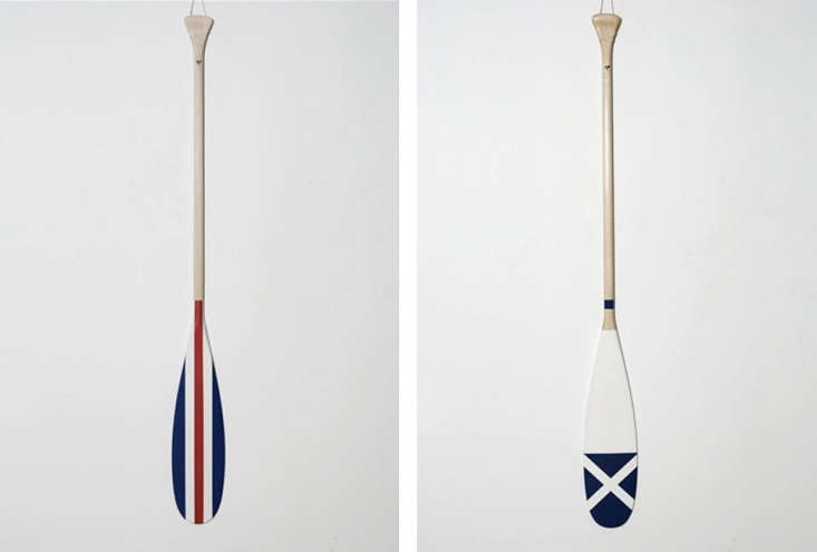 Above, L to R: Toronto-based Contact Voyaging offers a line of hand-painted oars; the red, white, and blue striped Charlie Semaphore Oar and the blue and white November Semaphore Oar; CAD $5 each.