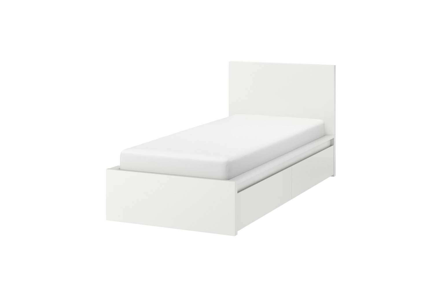 A classic budget option is the Malm High Bed Frame which includes two storage boxes below; $4 at Ikea.