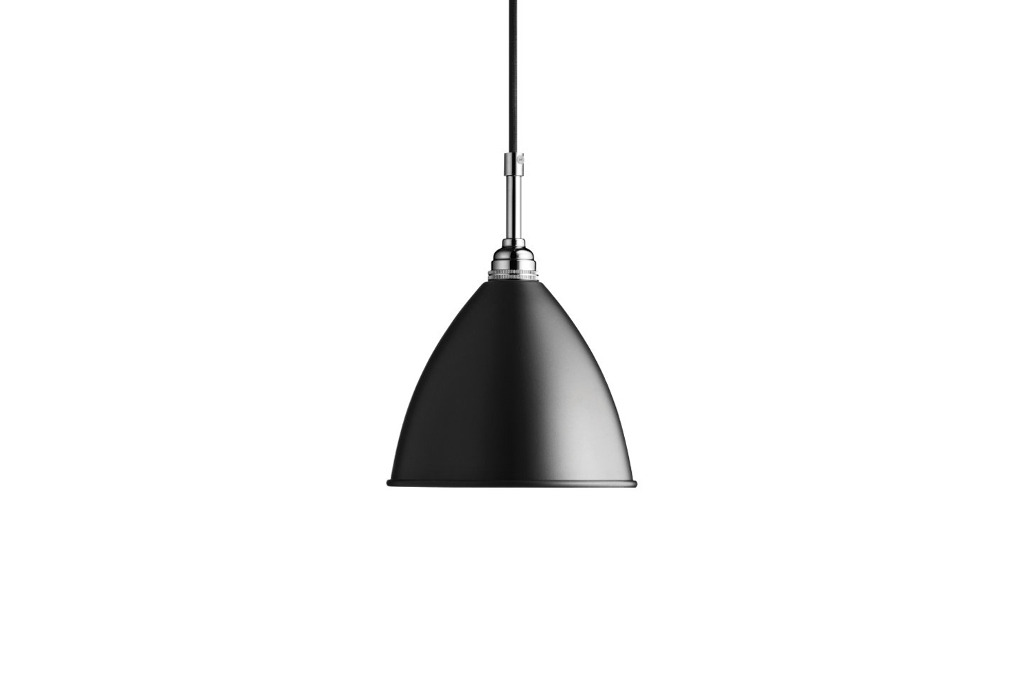 The Gubi Bestlite BL9 Pendant in chrome with black starts at $345 for the small at Lumens.