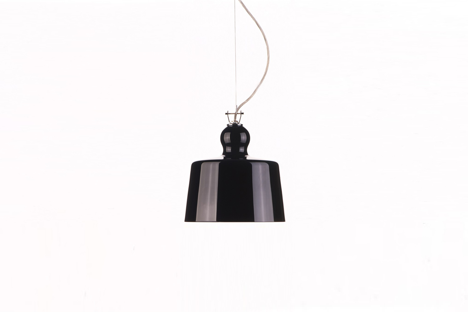 Designed by Michele de Lucchi, the Acquatinta Pendant in high shine black is $800 from Lumens.