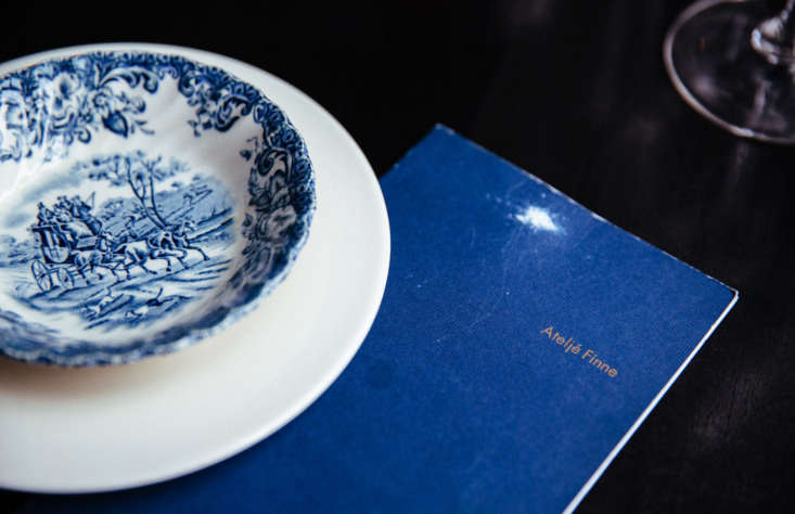 The seasonal dishes, like white asparagus soup, are served in bleu chine dishes.Photograph via Antto Melasniemi.