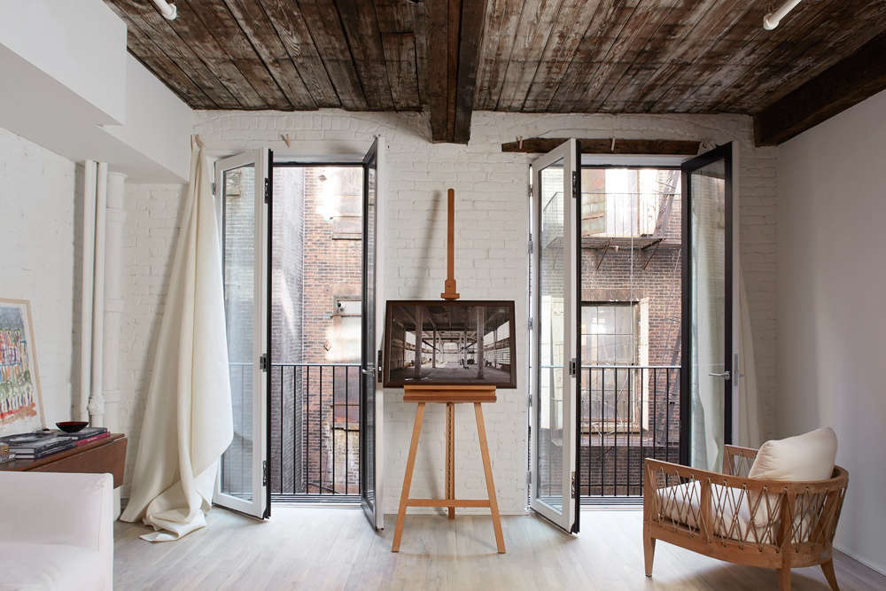 French doors with a lighter feel, in a New York City flat. See the rest of the project in A TriBeCa Pied-à-Terre with French Doors and Stealth Storage.