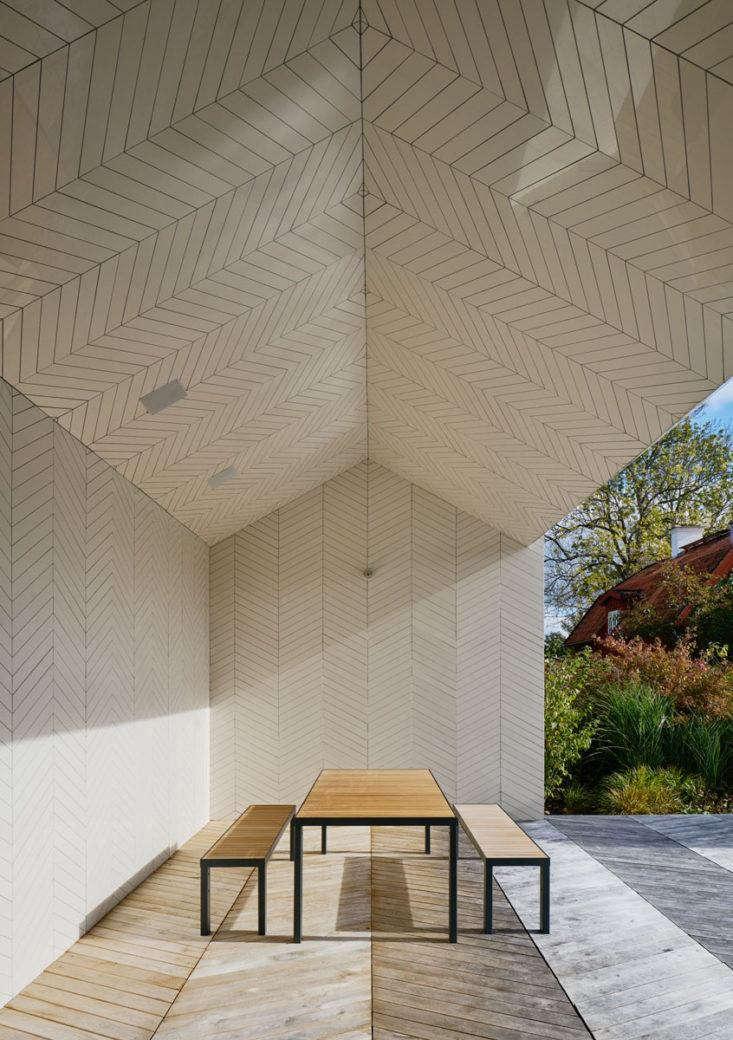 modern white poolhouse parquet tile sweden 1 1