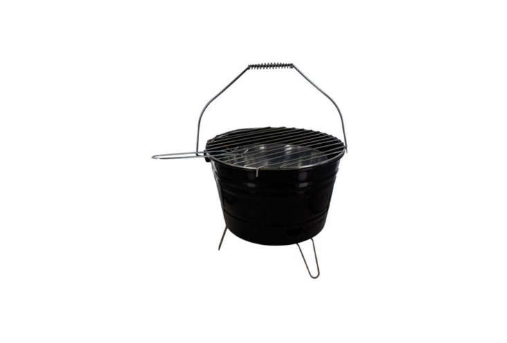 TheBar-B-Q Time Barbecue Bucket with Handleis a black enamel bucket with a stainless grate; $