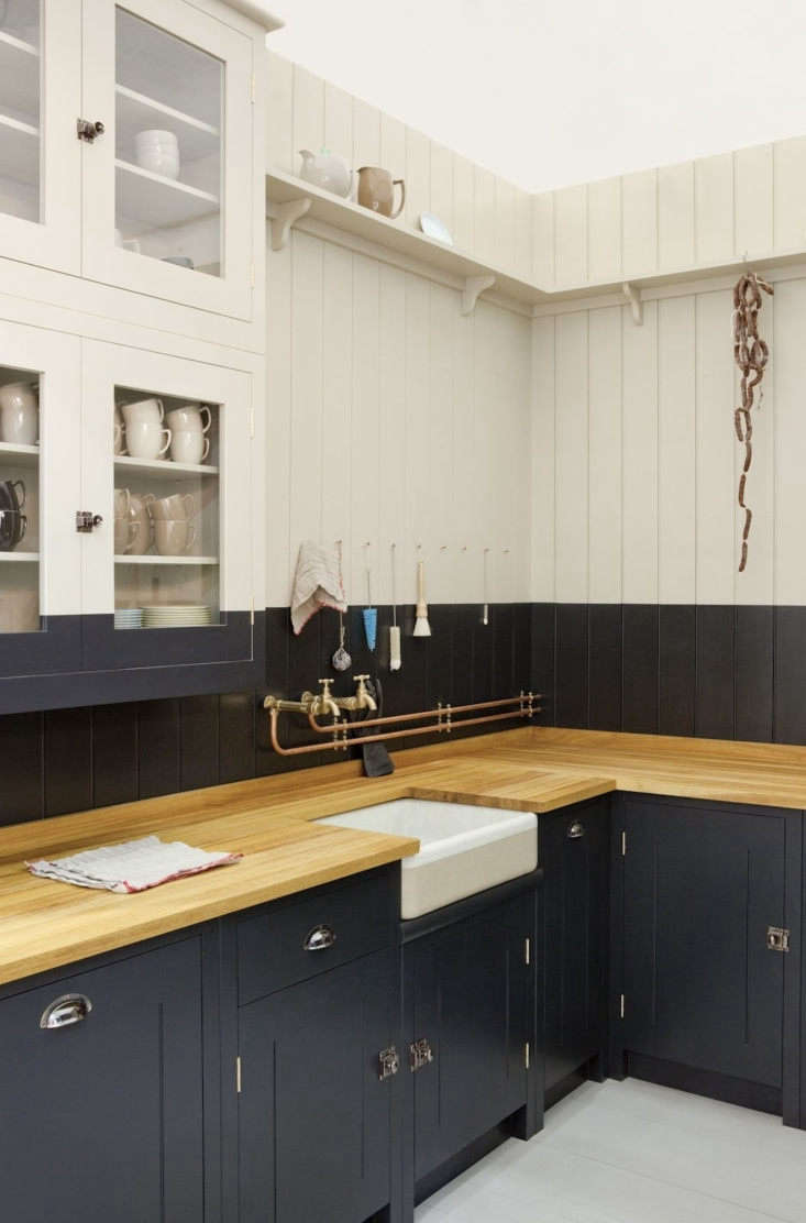 Worktop surfaces come in iroko, oak, or sycamore wood.