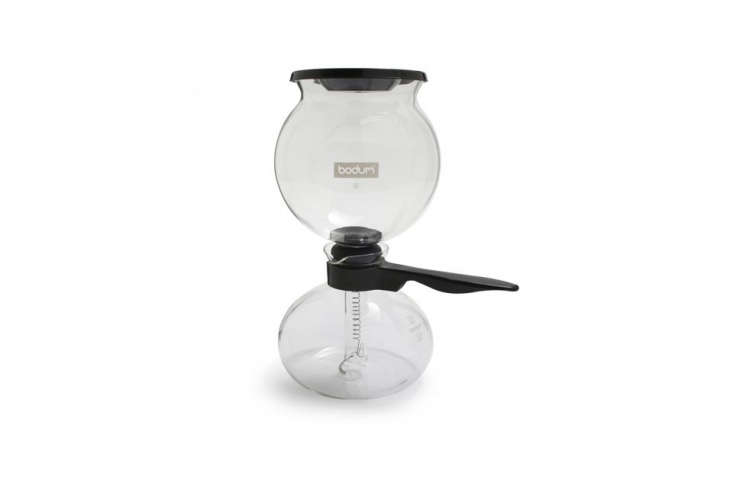 Bodum has been making a siphon coffee maker since the 50s. The Bodum Pebo Vacuum Coffee Maker,their latest iteration, has a 34-ounce capacity and features a stay-cool handle and a stopper to keep coffee warm; $79.95 at Sur La Table.