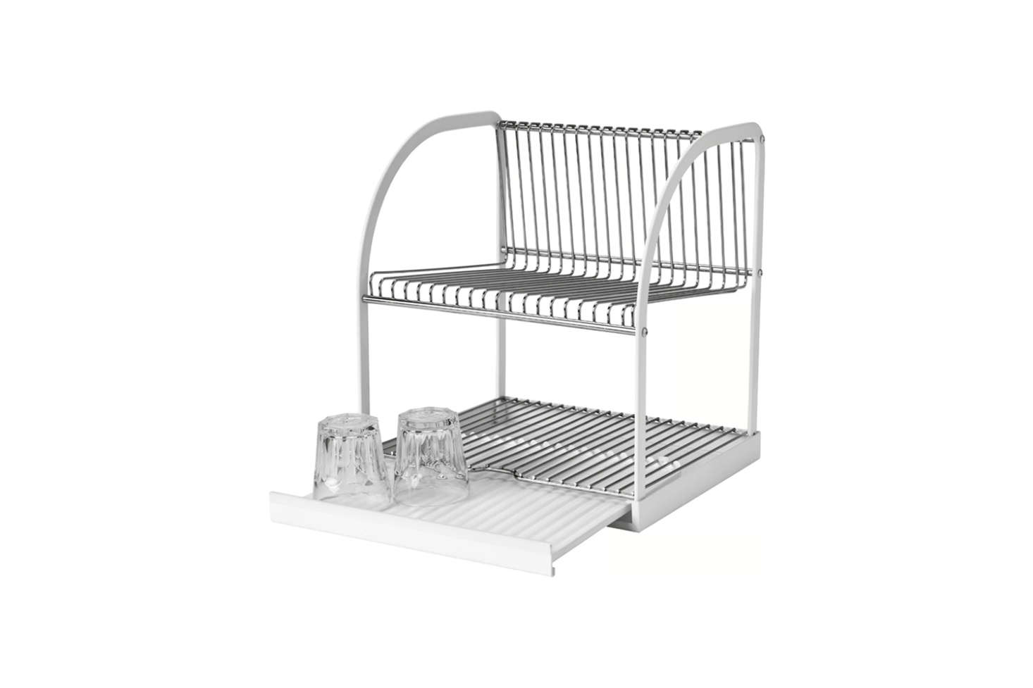 The Ikea Bestående Dish Drainer is made with silver-tone metal and white housing; $.99.