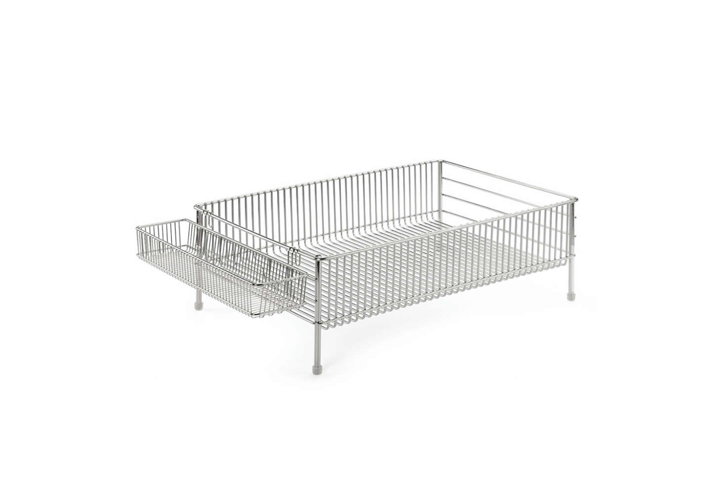 The Labase Steel Draining Rack with a removable cutlery insert is made in Japan from stainless steel; €src=