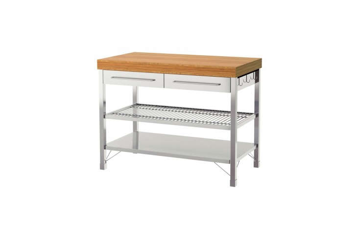 The Rimforsa Work Bench has a stainless steel look and bamboo top; $399 at Ikea.